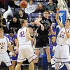 Harding's Hayden Johnson passes the ball during the first half of the NCAA Division II Central Region tournament game against Harding Saturday at Bresnan Arena. Pat Christman