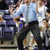 Minnesota State Coach Matt Margenthaler protests a call during the first half of a NCAA Division II Central Region semifinal game Sunday at Bresnan Arena. Pat Christman
