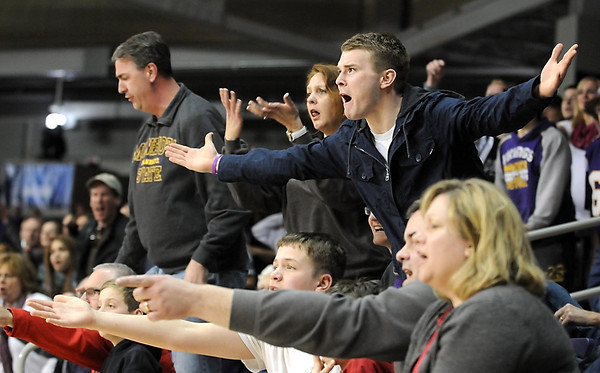 Fans don't like a referee's call during the second half Sunday at Bresnan Arena. Pat Christman