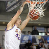 Minnesota State's Connor O'Brien slam dunks the ball during the second half Sunday at Bresnan Arena. Pat Christman