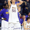 Minnesota State's Assem Marei reacts after fouling out of the game during the second half a the NCAA Division II Central Region semifinal game against Northwest Missouri State Sunday at Bresnan Arena. Pat Christman