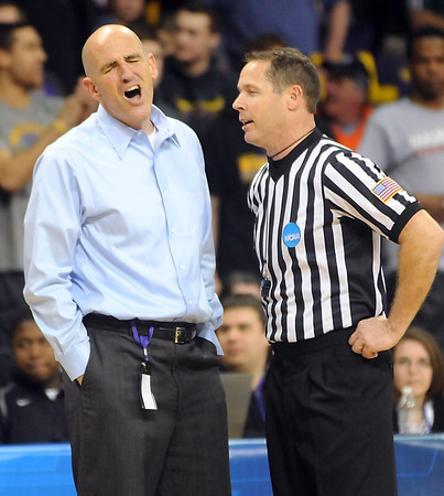 Minnesota State coach Matt Margenthaler reacts to a referee's call during the second half of the NCAA Division II Central Region semifinal game against Northwest Missouri State Sunday at Bresnan Arena. Pat Christman