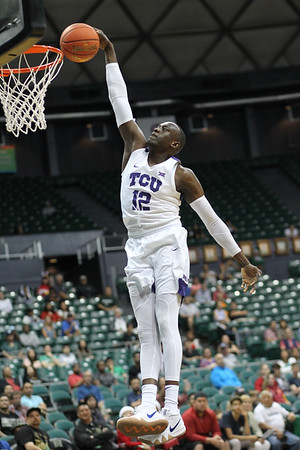 TCU forward Kouat Noi (12) breaks away for a dunk against Indiana State at the Stan Sheriff Center in Honolulu, Hawaii on December 25, 2018. Noi prepped at Montverde Academy.