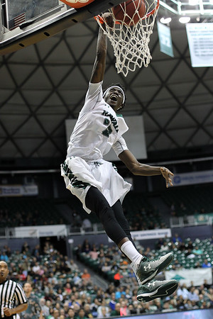 Hawaii guard Sheriff Drammeh (23) scowls as he slams against Howard at the Stan Sheriff Center in Honolulu, Hawaii on December 29, 2017. Drammeh was 6-3 and from Stockholm, Sweden.
