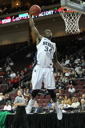 Malik Story (34) of Nevada throws one down against San Jose State at the WAC Tournament in Las Vegas, Nevada on March 8, 2012.