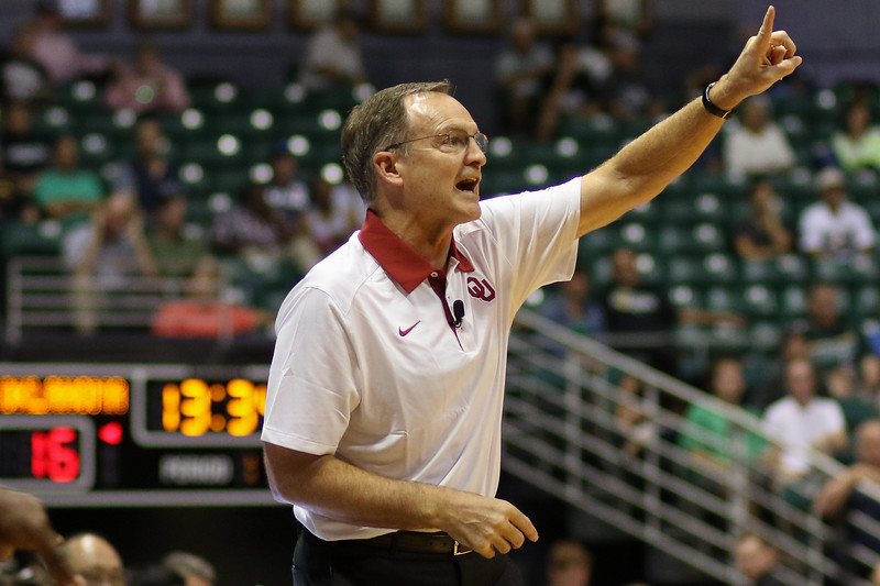 Oklahoma coach Lon Kruger calls a play at the championship of the 2015 Diamond Head Classic at the Stan Sheriff Center, Honolulu, HI on December 25, 2015. Photo: Brandon Flores.
