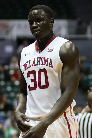 Oklahoma center Akolda Manyang leaves the court in the championship game of the Diamond Head Classic at the Stan Sheriff Center, Honolulu, HI on December 25, 2015. Photo: Brandon Flores.