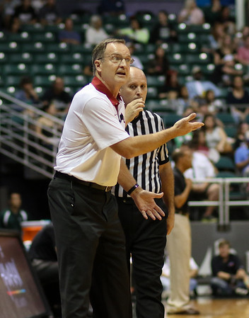 Sooner coach Lon Kruger questions the call in the championship game of the 2015 Diamond Head Classic at the Stan Sheriff Center, Honolulu, HI on December 25, 2015. Photo: Brandon Flores.