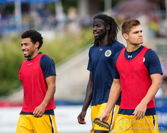 Nashville SC midfielder Ryan James (7) and Nashville SC midfielder Ismaila Jome (11)