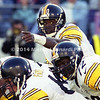 BALTIMORE, MD -OCTOBER 29: Quarterback Kordell Stewart #10 of the Pittsburgh Steelers calls a change in the play behind his Offensive Line during a NFL game against the Baltimore Ravens at PSINet Stadium on October 29, 2000 in Baltimore, Maryland. The Steelers won 9-6. (Photo by Michael J. Minardi) *** Local Caption *** Kordell Stewart;Offensive Line