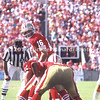 TAMPA, FL - SEPTEMBER 17; QB Joe Montana #16 of the San Francisco 49ERS calls an audible before the snap in a game against the Tampa Bay Buccaneers on September 17, 1989 at Tampa Stadium in Tampa, Florida. The 49ERS won 20-16. (Photo by Michael Minardi) *** Local Caption *** Joe Montana