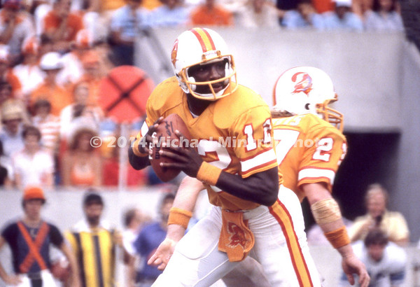 TAMPA, FL - JANUARY 2; QB Doug Williams #12 of the Tampa Bay Buccaneers drops back to pass against the Chicago Bears on January 2, 1983 at Tampa Stadium in Tampa, FL. The Buccaneers defeated the Bears 26-23. (Photo by Michael Minardi) *** Local Caption *** Doug Williams
