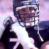 TAMPA, FL - OCTOBER 6: Tackle Keith Van Horne #78 of the Chicago Bears adjusts his helmut before going back in to play during a NFL game against the Tampa Bay Buccaneers at Tampa Stadium on October 6, 1985 in Tampa, Florida. The Bears won 27 to 19. (Photo by Michael J. Minardi) *** Local Caption *** Keith Van Horne
