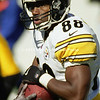 BALTIMORE, MD - OCTOBER 29: Wide Receiver Courtney Hawkins #88 of the Pittsburgh Steelers catches a pass for some extra yardage during a NFL game at PSINet Stadium on October 29, 2000 in Baltimore, Maryland. The Steekers won the game 9-6. (Photography by Michael J. Minardi) *** Local Caption *** Courtney Hawkins