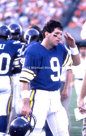 TAMPA, FL - SEPTEMBER 14; Quarter Back Tommy Kramer #9 of tyhe Minnesota Vikings goes back to the bench after a tough play against the Tampa Bay Buccaneers on September 14, 1986 at Tampa stadium in Tampa, Florida. The Vikings won 23-10. (Photo by Michael Minardi) *** Local Caption *** Tommy Kramer