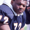 TAMPA, FL - OCTOBER 6: Defensive Tackle William Perry #72 of the Chicago Bears a.k.a. The Refridgerator because of his size was waiting on the bench to play a NFL game against the Tampa Bay Buccaneers at Tampa Stadium on October 6, 1985 in Tampa, Florida. The Bears won 27 to 19. (Photo by Michael J. Minardi) *** Local Caption *** William Perry