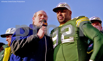 Terry Bradshaw interviews Reggie White after Packers win 1996 NFC Championship Game in Lambeau Field, Green Bay, -23 degrees below zero.
