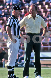 Hall of Fame Packer Great QB Bart Starr as Green Bay Packers head coach, circa 1976, in L.A. Coliseum as team prepares to play the LA Raiders