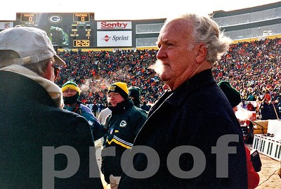 Packers Hall of Fame great PAUL HORNUNG lets out some cold air on the Frozen Tundra before the 1996 NFC CHAMPIONSHIP GAME which was played in -23 degrees below zero weather.