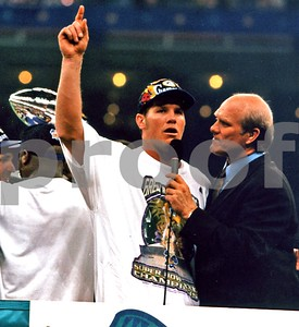 Super Champion Brett Favre and Terry Bradshaw in post game on field interview 1997, New Orleans