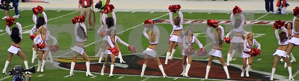 Cardinals cheerleaders having fun during pre-game
