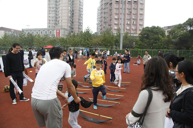 NFL Home Field Shanghai - Week 9 - Young fans test out their athletic skills in the Nike Pro Training zone