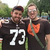 Geneva native Aaron Gourlie and Corie Eckman, left, of Windham won tickets to the NFL Draft. They want the Browns to take Myles Garrett at No. 1. (Mark Podolski)
