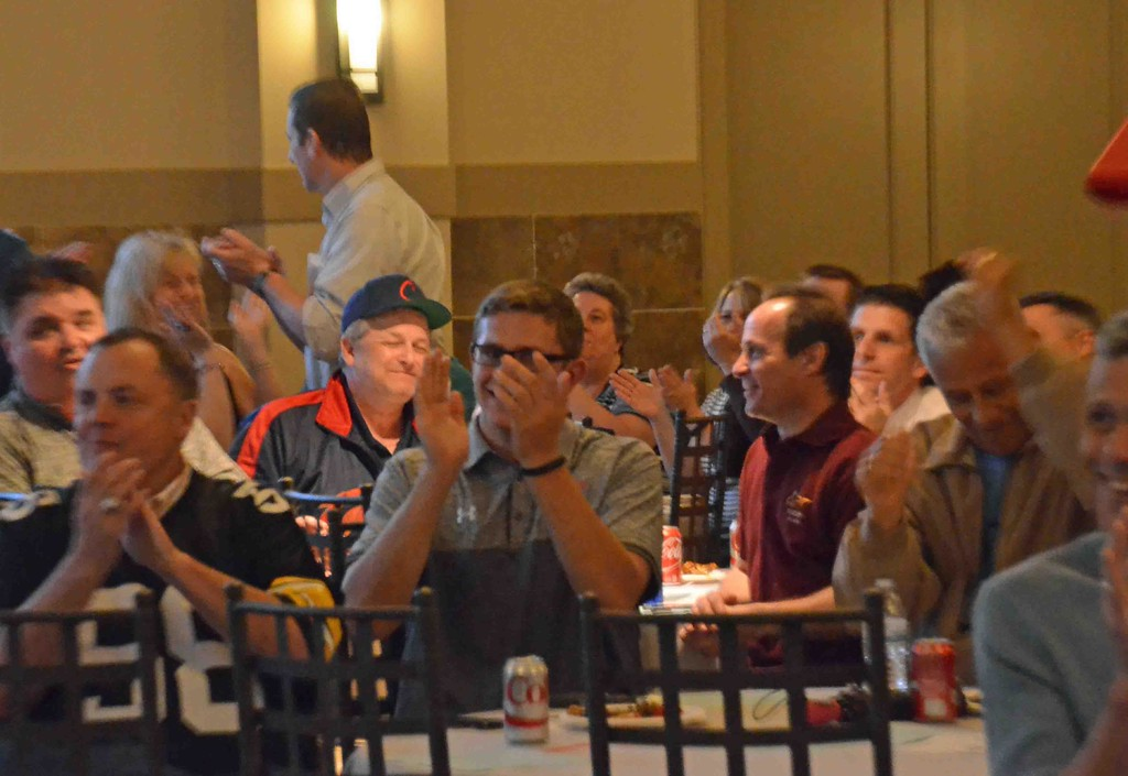 . Paul DiCicco - The News-Herald Supporters cheer on MItch Trubisky at the Mentor draft party on April 27.
