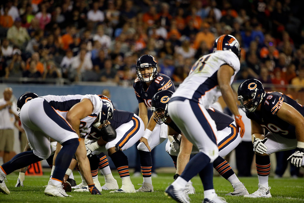 . Chicago Bears quarterback Mitchell Trubisky (10) calls a play during the first half of an NFL preseason football game against the Denver Broncos, Thursday, Aug. 10, 2017, in Chicago. (AP Photo/Nam Y. Huh)