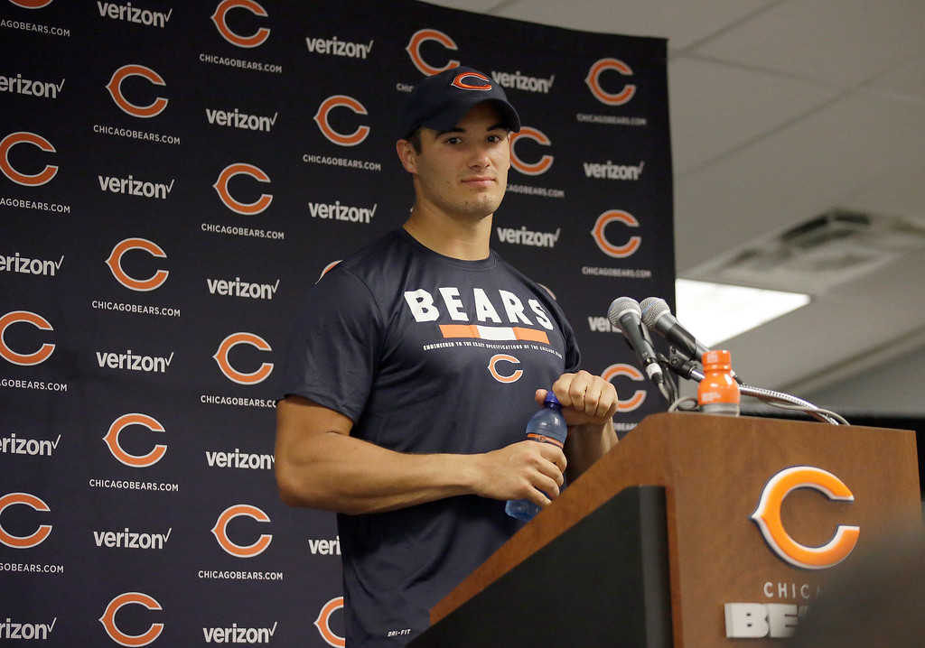 . Chicago Bears quarterback Mitchell Trubisky talks at a news conference after an NFL preseason football gameagainst the Denver Broncos, Thursday, Aug. 10, 2017, in Chicago. The Broncos won 24-17. (AP Photo/Nam Y. Huh)