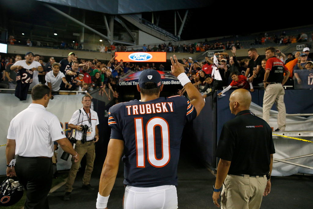 . Chicago Bears quarterback Mitchell Trubisky (10) waves to fans after an NFL preseason football game against the Denver Broncos, Thursday, Aug. 10, 2017, in Chicago. The Broncos won 24-17. (AP Photo/Nam Y. Huh)