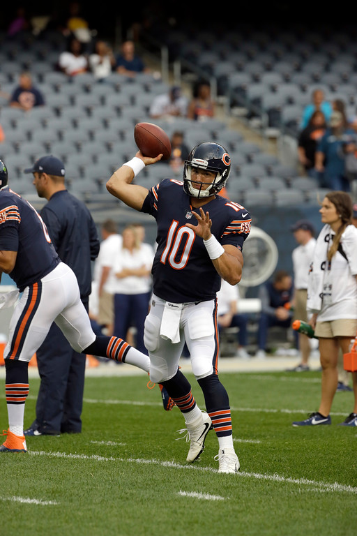 . Chicago Bears quarterback Mitchell Trubisky (10) warms up before an NFL preseason football game against the Denver Broncos, Thursday, Aug. 10, 2017, in Chicago. (AP Photo/Nam Y. Huh)