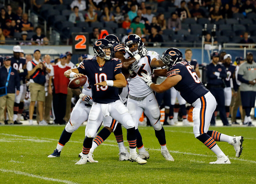 . Chicago Bears quarterback Mitchell Trubisky (10) throws during the second half of an NFL preseason football game against the Denver Broncos, Thursday, Aug. 10, 2017, in Chicago. The Broncos won 24-17. (AP Photo/Charles Rex Arbogast)