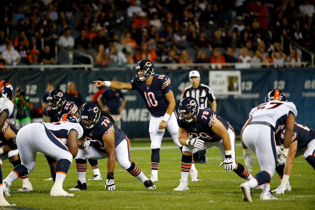 . Chicago Bears quarterback Mitchell Trubisky (10) calls a play during the second half of an NFL preseason football game against the Chicago Bears, Thursday, Aug. 10, 2017, in Chicago. (AP Photo/Charles Rex Arbogast)