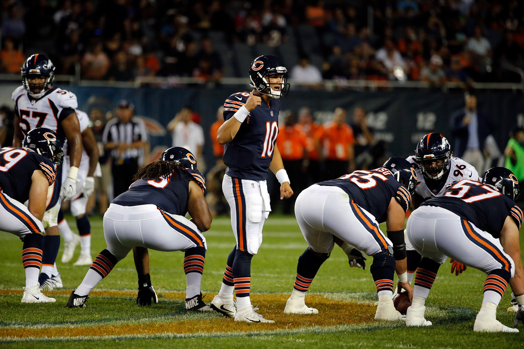 . Chicago Bears quarterback Mitchell Trubisky (10) calls a play during the second half of an NFL preseason football game against the Denver Broncos, Thursday, Aug. 10, 2017, in Chicago. (AP Photo/Charles Rex Arbogast)