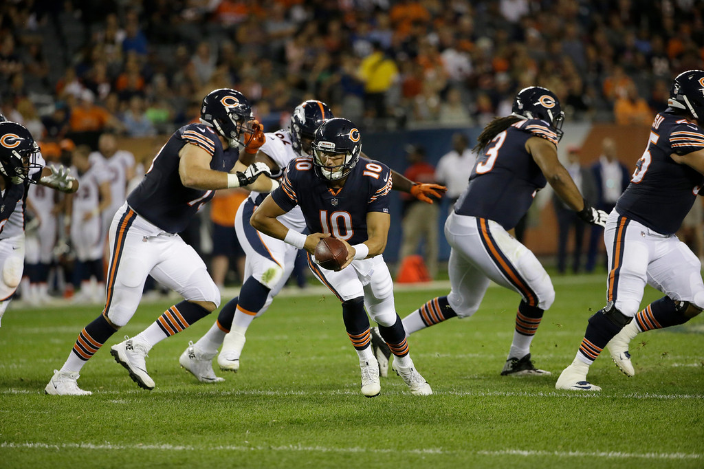 . Chicago Bears quarterback Mitchell Trubisky (10) scrambles during the second half of an NFL preseason football game against the Denver Broncos, Thursday, Aug. 10, 2017, in Chicago. (AP Photo/Nam Y. Huh)