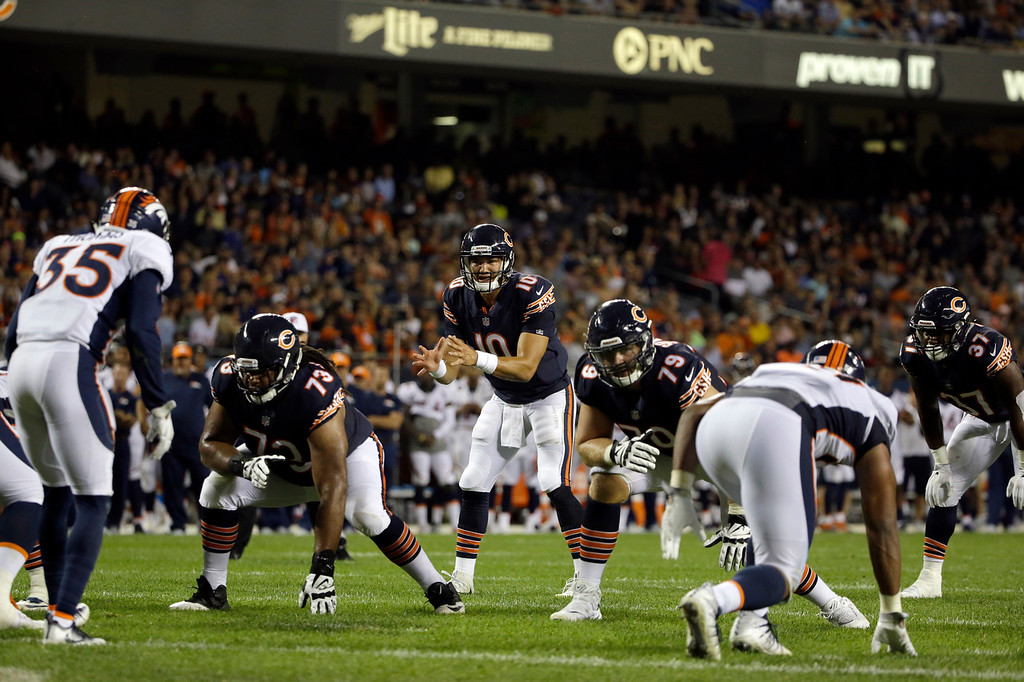. Chicago Bears quarterback Mitchell Trubisky (10) calls a play during the second half of an NFL preseason football game against the Denver Broncos, Thursday, Aug. 10, 2017, in Chicago. (AP Photo/Nam Y. Huh)