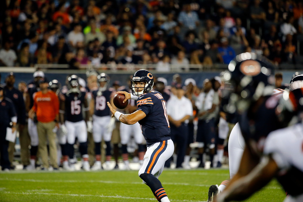 . Chicago Bears quarterback Mitchell Trubisky (10) throws a pass during the second half of an NFL preseason football game against the Denver Broncos, Thursday, Aug. 10, 2017, in Chicago. (AP Photo/Charles Rex Arbogast)
