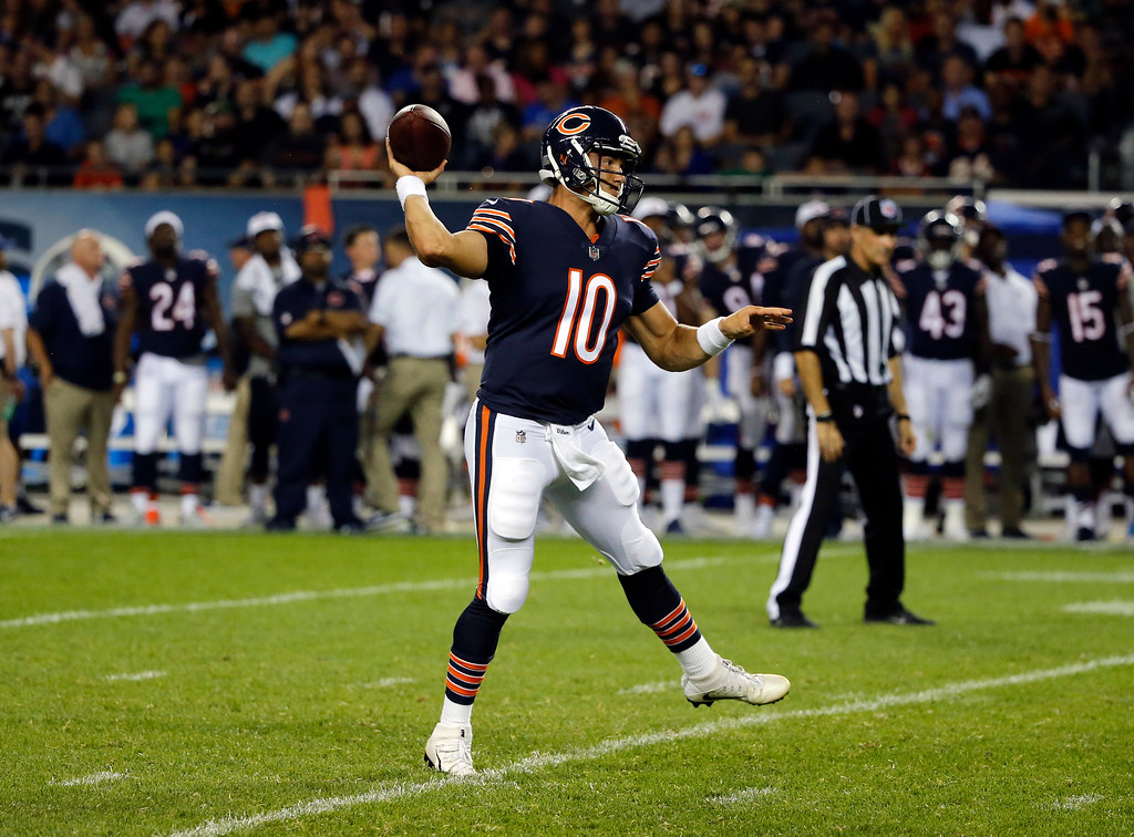 . Chicago Bears quarterback Mitchell Trubisky (10) throws during the second half of an NFL preseason football game against the Denver Broncos, Thursday, Aug. 10, 2017, in Chicago. (AP Photo/Charles Rex Arbogast)