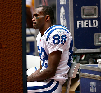 October 5, 2008 - Indianapolis Colts receiver Marvin Harrison reflects on the sidelines.  Harrison finished the afternoon with 32 yards on 4 receptions as the Colts defeated the Houston Texans 31-27.