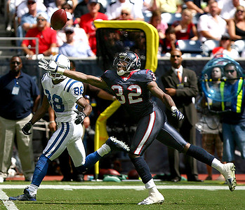 October 5, 2008 - Houston Texans cornerback Fred Bennett breaks up a pass intended for Indianapolis Colts receiver Marvin Harrison. The Colts scored 21 unanswered points in the last minutes of the fourth quarter to stun the Houston Texans 31-27.