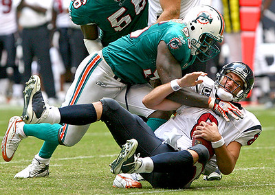 October 12, 2008 - Houston Texans quarterback Matt Schaub is sacked for a loss with less than two minutes remaining in the fourth quarter.  Schaub and the Texans recovered, scoring a touchdown with three seconds left in the game to defeat the Miami Dolphins 29-28.