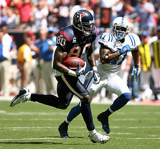 October 5, 2008 - Houston Texans receiver Andre Johnson breaks free after a reception for a 39 yard gain against the Indianapolis Colts.  The Colts scored 21 unanswered points in the last minutes of the fourth quarter to stun the Texans 31-27.