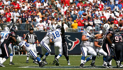 October 5, 2008 - The Indianapolis Colts scored 21 unanswered points in the last minutes of the fourth quarter to stun the Houston Texans 31-27.