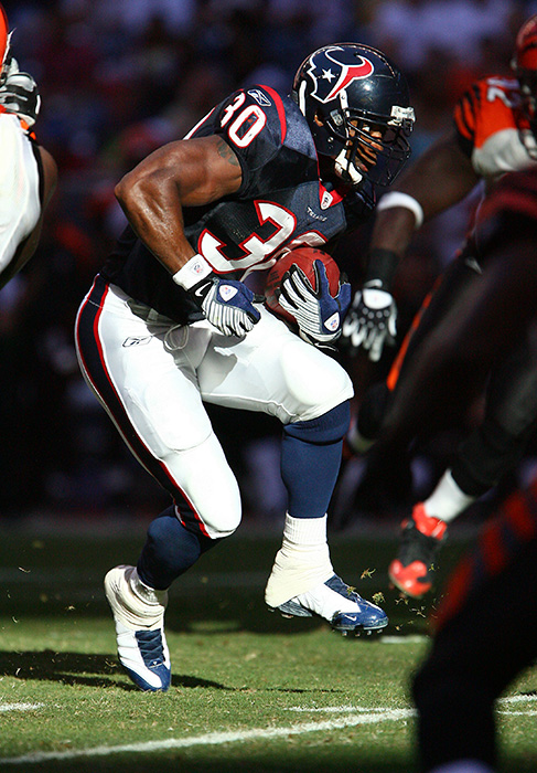 October 26, 2008 - Houston Texans running back Ahman Green comes out of the shadows and dances in the sunlight against the Cinicnnati Bengals at Reliant Stadium.  The Texans defeated the Bengals 35-6, establishing a franchise record with three straight wins.