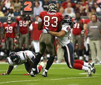 August 28, 2008 - Tampa Bay Buccaneers tight end Ben Troupe gains additional yardage after a reception against the Houston Texans.  The Texans finished their preseason with a 16-6 loss to the Buccaneers at Reliant Stadium in Houston.