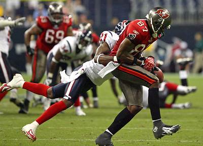 August 28, 2008 - Houston Texans cornerback Jamar Fletcher attempts to break up a pass play in the fourth quarter against the Tampa Bay Buccaneers.  The Texans finished their preseason with a 16-6 loss at Reliant Stadium in Houston.