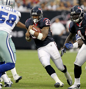 August 28, 2010 -Arian Foster rushed for 110 yards as the Houston Texans hosted the Dallas Cowboys in Preseason game number 3. The Texans defeated the Cowboys 23 to 7.