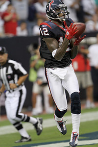 August 28, 2010 -Jacoby Jones scores on a touchdown reception in the first half. The Houston Texans hosted the Dallas Cowboys in Preseason game number 3. The Texans defeated the Cowboys 23 to 7.