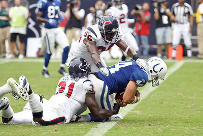 September 12, 2010- Colts tight end Dallas Clark falls forward into the end zone for a touchdown pulling the Colts to within 10 points during the fourth quarter. The Houston Texans held off the Colts to win their 2010 season opener 34-24.